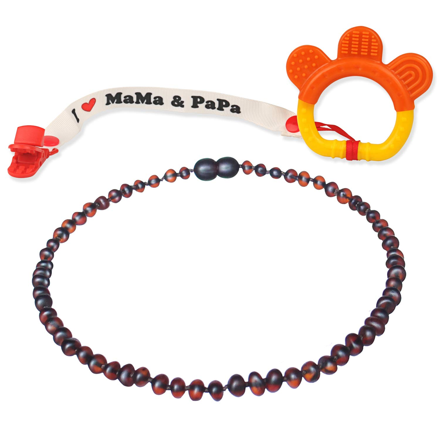 Baltic Amber Teething Necklace for Babies (Unisex - Raw Cherry - 12.5 Inches) - Anti Flammatory, Drooling & Teething Pain Reduce Properties - Natural Raw Baltic Jewelry with Highest Quality by QUALEAP AMBER