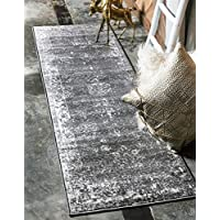 Unique Loom Sofia Collection Traditional Vintage Dark Gray Runner Rug (2 x 10)