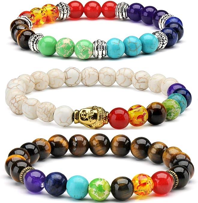 Senlinmu 3x Steine Armband 7 Chakra Reiki Energie Meditation Heilung Therapie Yoga Armbänder Buddha Armband Balance Armbänder Amazon De Schmuck
