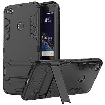 WLDDWL Funda Huawei P8 Lite 2017, Carcasa Ultra Fina Antigolpes Antideslizante de TPU y PC Robusta con Soporte para Huawei P8 Lite 2017 (Negro)