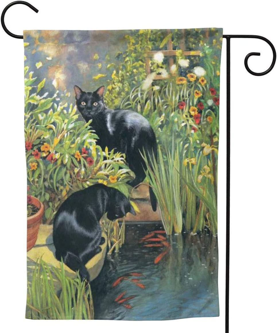 Delerain Black Cats Garden Flag, 12.5 x 18 Inch Double Sided Design Weather Resistant Indoor & Outdoor Decoration Small Banner for Home Yard Lawn Patio Office