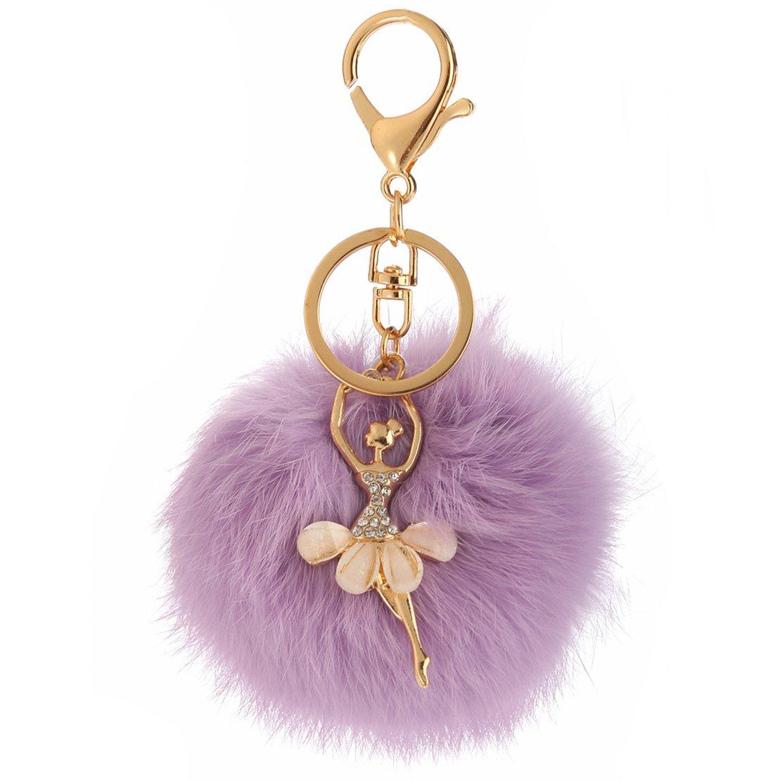 Mxixi couleur artificiel unie lapin boule de fourrure dansant fille pendentif porte-cl/és moelleux sac /à main charme cl/é anneau cl/é de voiture d/écoration Couleur 1