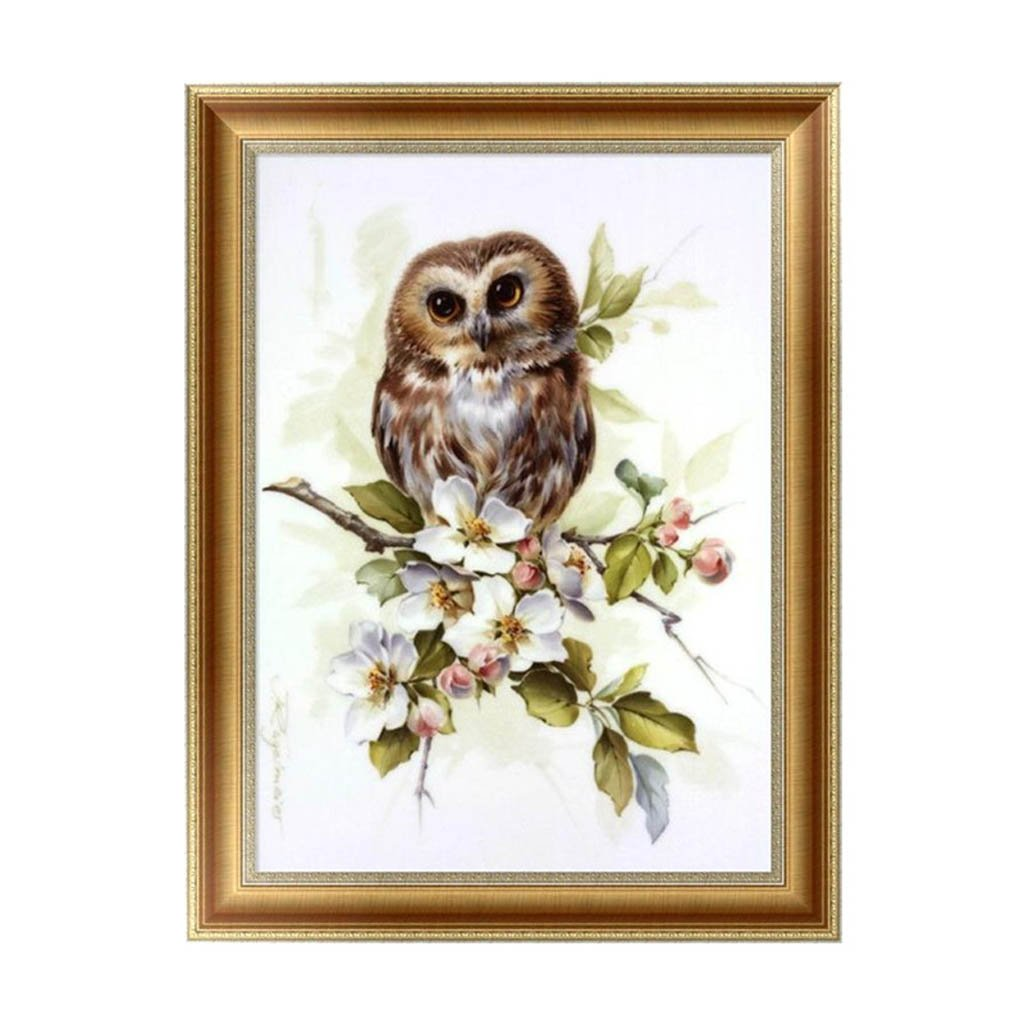 Feamos 5D Diamond Embroidery Kit Owl Cross Stitch Craft for DIY Wall Decor