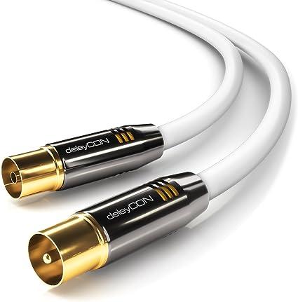 deleyCON 1m TV Cable de la Antena Coaxial Cable de TV 100dB 4K Ultra HD UHD HDTV Full HD - Enchufe de TV a Toma de TV - Conector Metálico - Analógico ...
