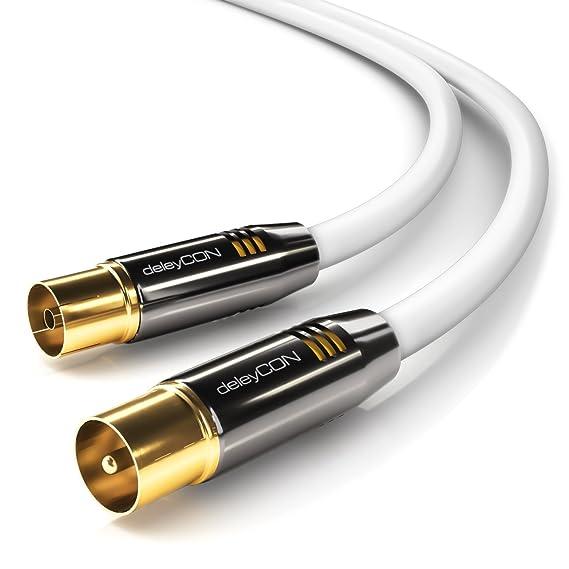 deleyCON TV Cable de antena 2m Cable coaxial / Conector dorado macho de TV / hembra de TV rectos Conector de metal 100dB UltraHD FullHD HDTV: Amazon.es: ...