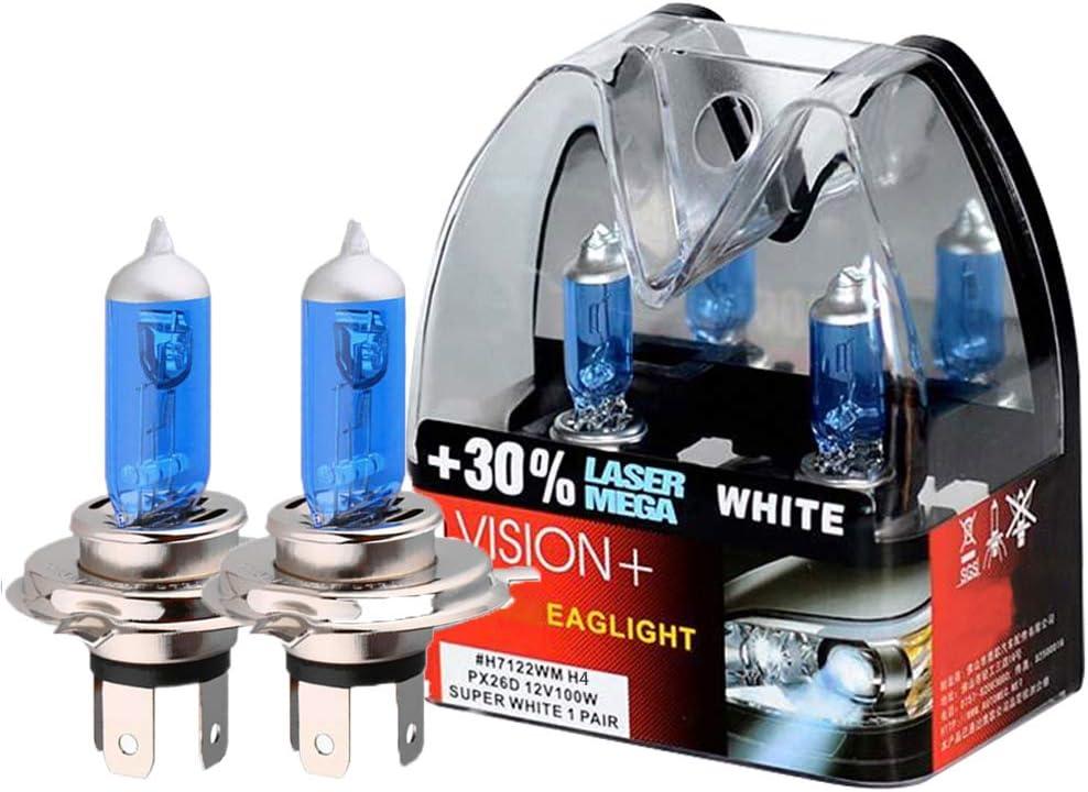 Cihely Scheinwerferlampe H4 2er Pack 12v 100w Super Bright Halogen Scheinwerfer 30 Lichtquelle Mehr Helligkeit Fernlicht Abblendlicht Und Nebel Ersatzlampe Auto