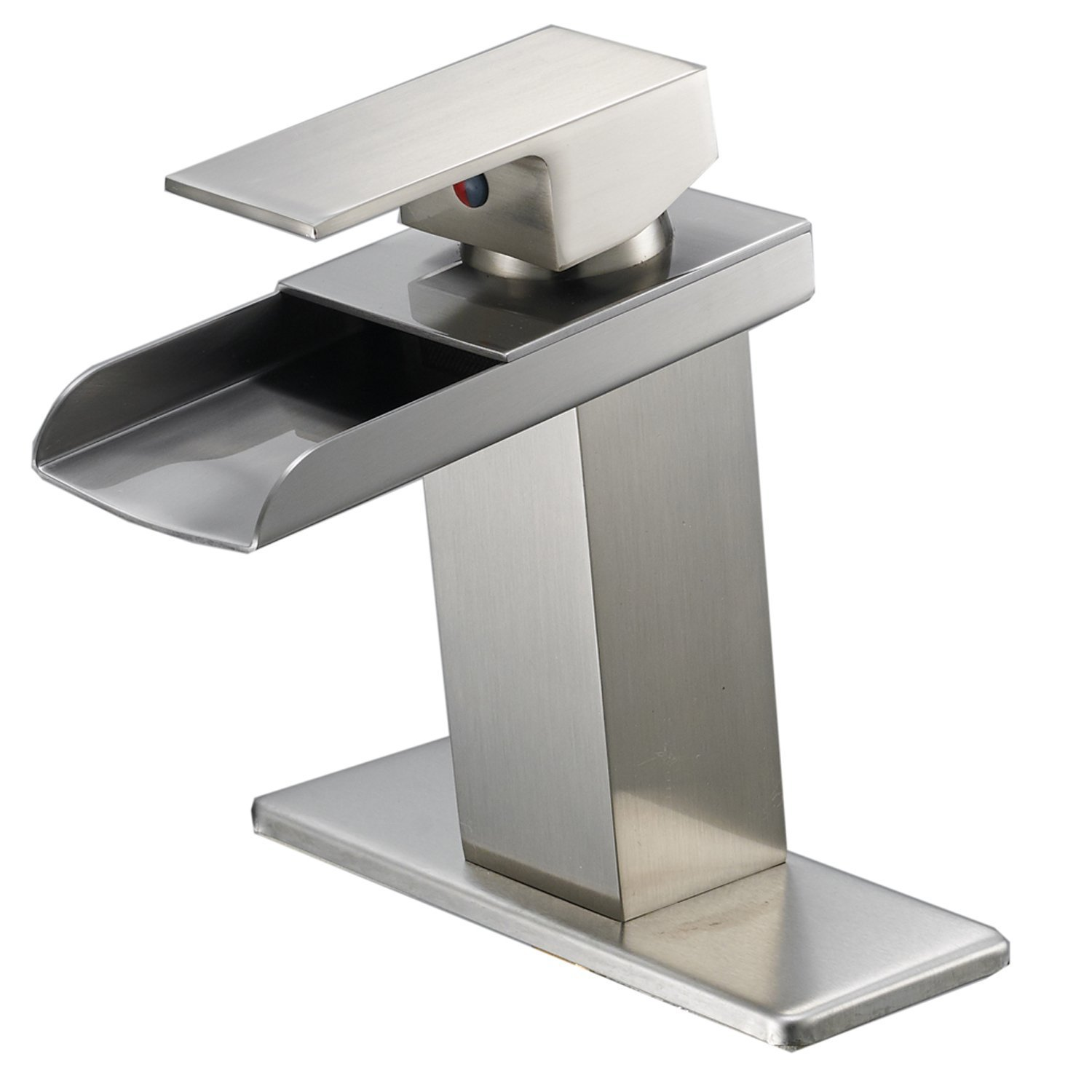 Bathlavish Waterfall Bathroom Sink Faucet Brushed Nickel Single Handle One Hole Deck Mount Lavatory Faucet Commercial