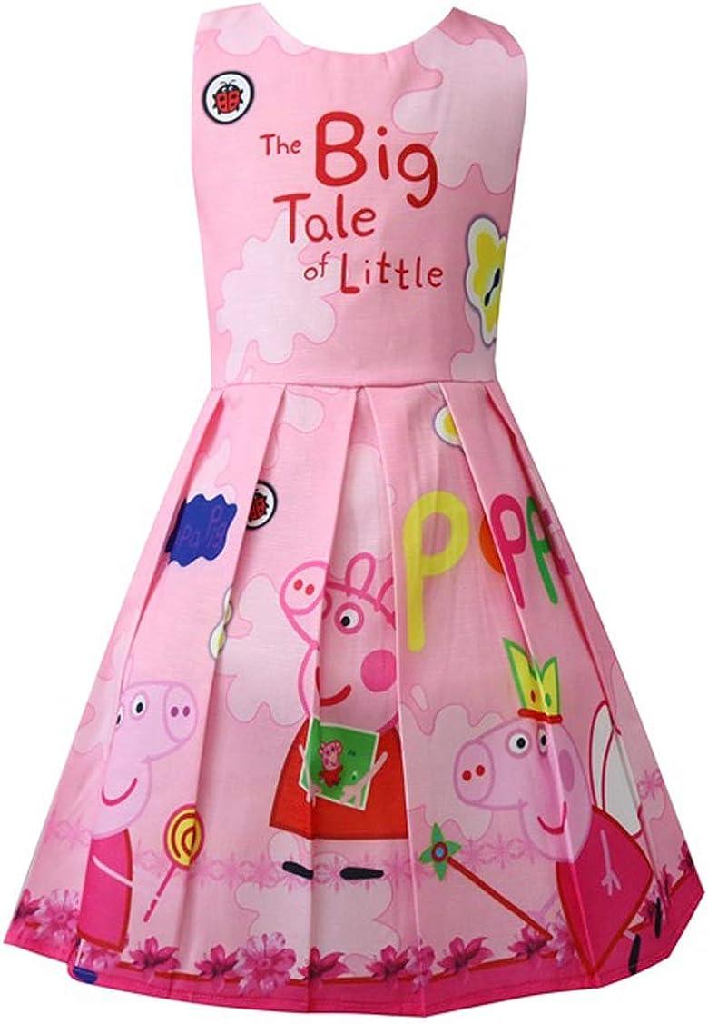 Little Girls Summer Lapel Rainbow Color Dress