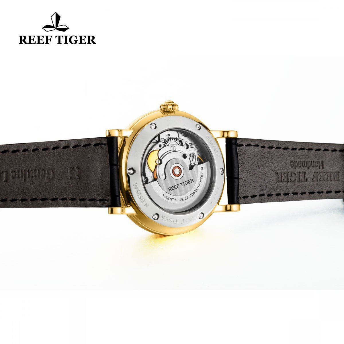 Reef Tiger Designer Dress Watches for Men Yellow Gold Case Leather Strap Date Automatic Watch RGA163 by REEF TIGER (Image #7)
