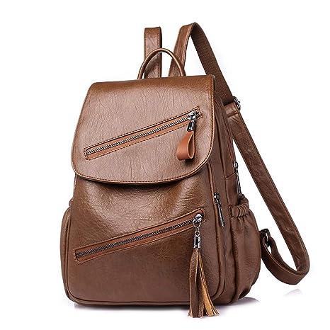 Yoome YooSJB0208-Brown - Bolso Mochila de Cuero para Mujer Beige marrón Talla única