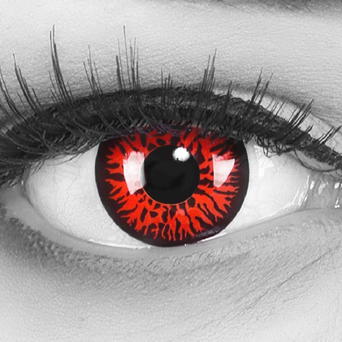 Lentillas de color rojo negro Rojo Demon 1 par. Cómodas y perfectas para carnaval de Halloween, cosplay de anime, blandas, sin dioptrías + recipiente de lentillas, sin graduación