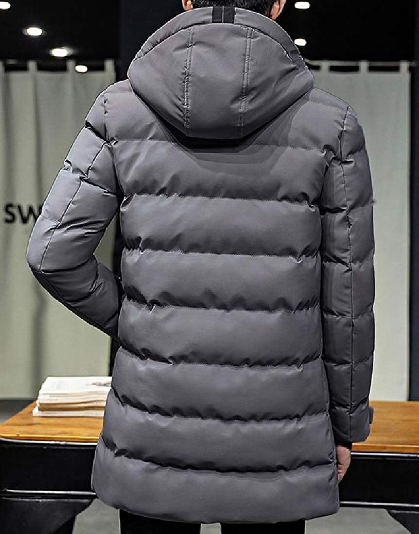 Losait Men Stand Collar Water-Resistant Puffy Jacket with Pockets