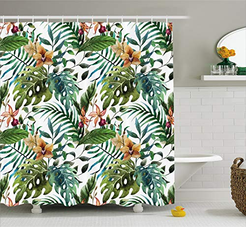 Ambesonne Leaf Shower Curtain, Vintage Retro 60s Seem Banana Palm Tree Leaves Flowers Hibiscus, Cloth Fabric Bathroom Decor Set with Hooks, 75