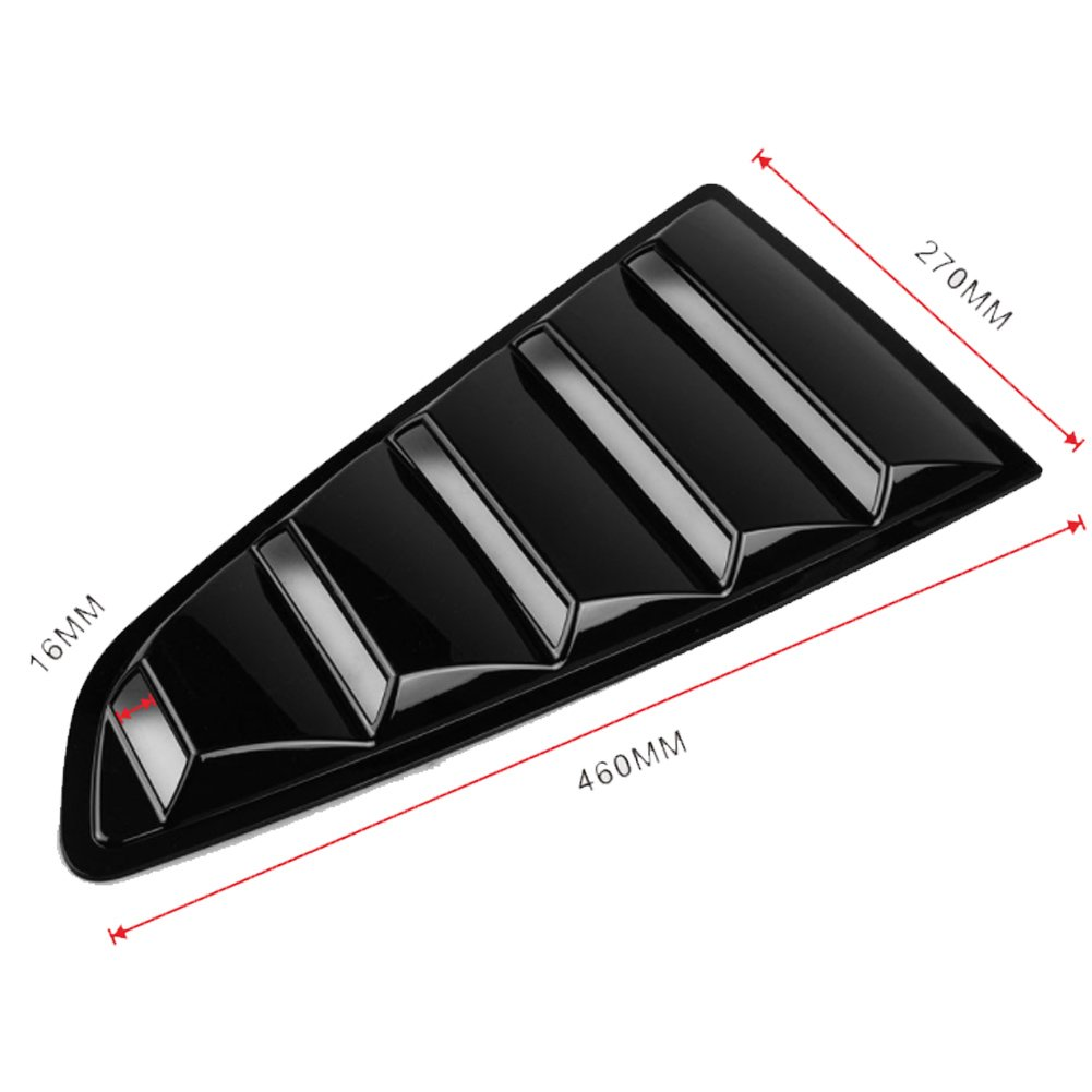 Matt Black GOGOLO 2PCS Car Window Louvers Kit Fit for 2015 2016 2017 2018 Ford Mustang 5-Vent Style