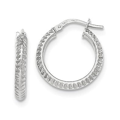 Mia Diamonds 14K 3mm White Hoop Earrings