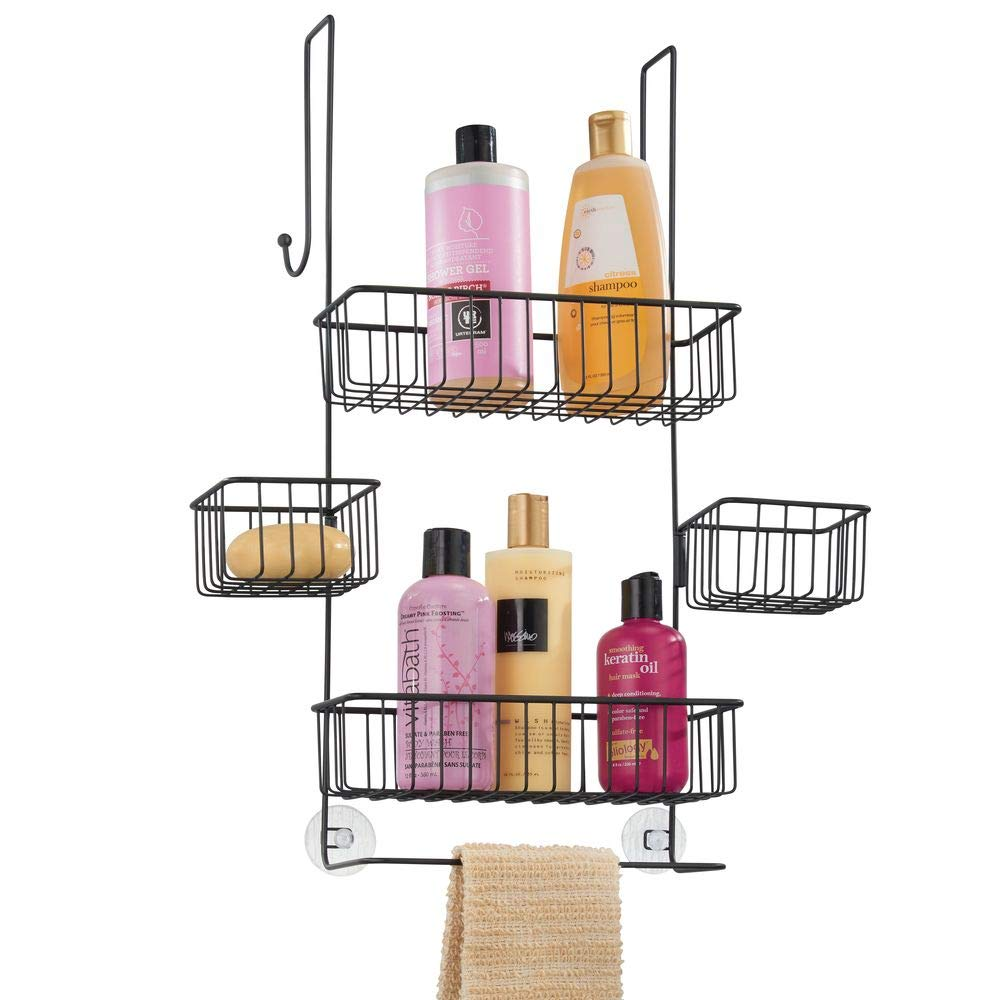 mDesign Wide Metal Wire Over Door Bathroom Tub & Shower Caddy, Hanging Storage Organizer Center with Built-in Towel Holders and Baskets on 3 Levels - Center Baskets Swivel - Matte Black