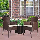 Cloud Mountain Outdoor 3 PC Bistro Sofa Set Wicker Bistro Conversation Set Wicker Sectional Furniture- Two Chairs with Glass Coffee Table, Creamy White Cushions with Cocoa Brown Rattan