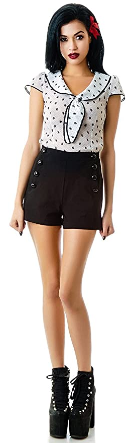 Vintage High Waisted Shorts, Sailor Shorts, Retro Shorts  High Rise Waisted Sailor Shorts $36.95 AT vintagedancer.com
