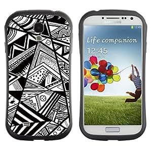 "Hypernova Slim Fit Dual Barniz Protector Caso Case Funda Para SAMSUNG Galaxy S4 IV / i9500 / i9515 / i9505G / SGH-i337 [Blanco Chevron Líneas Resumen Pen""]"