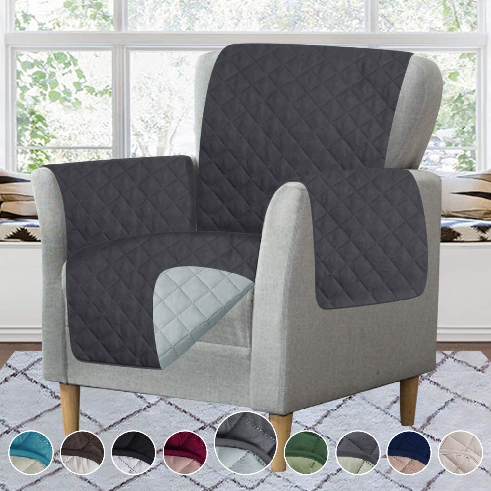 RHF Reversible Sofa Cover-Great for Home with Kids and Pets(Couch Cover for Dogs)-Features Elastic Strap (Chair: Darkgrey/LightGrey)