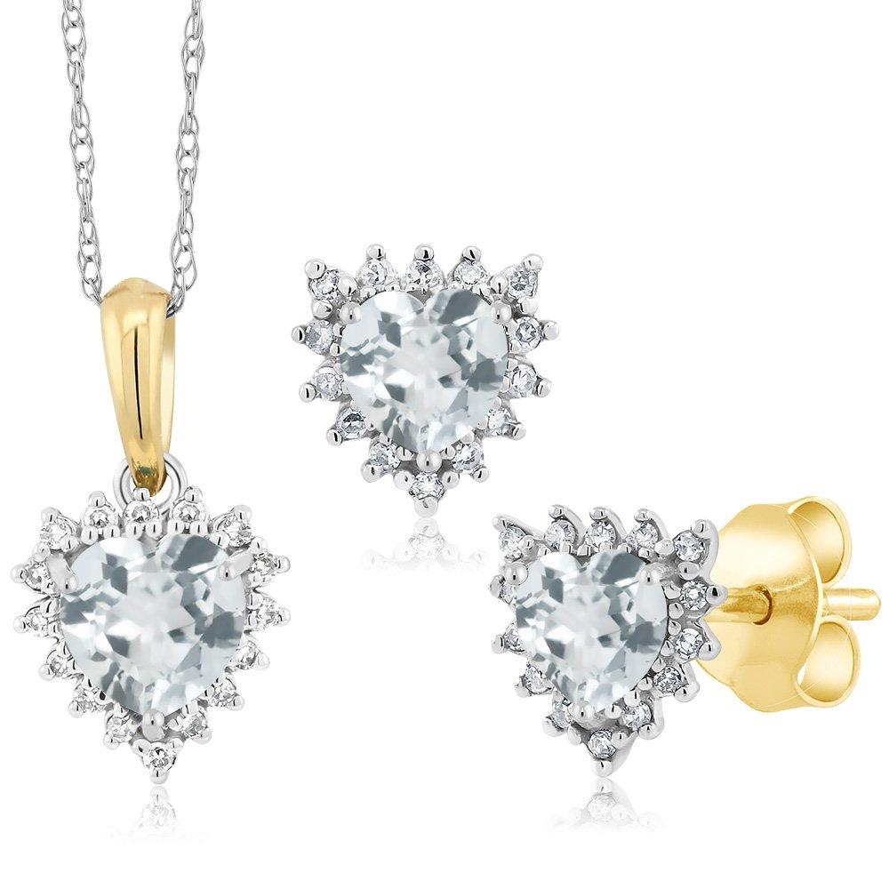 18K Two Tone Gold 1.25 Ct Heart Sky Blue Aquamarine Diamond Pendant Earrings Set