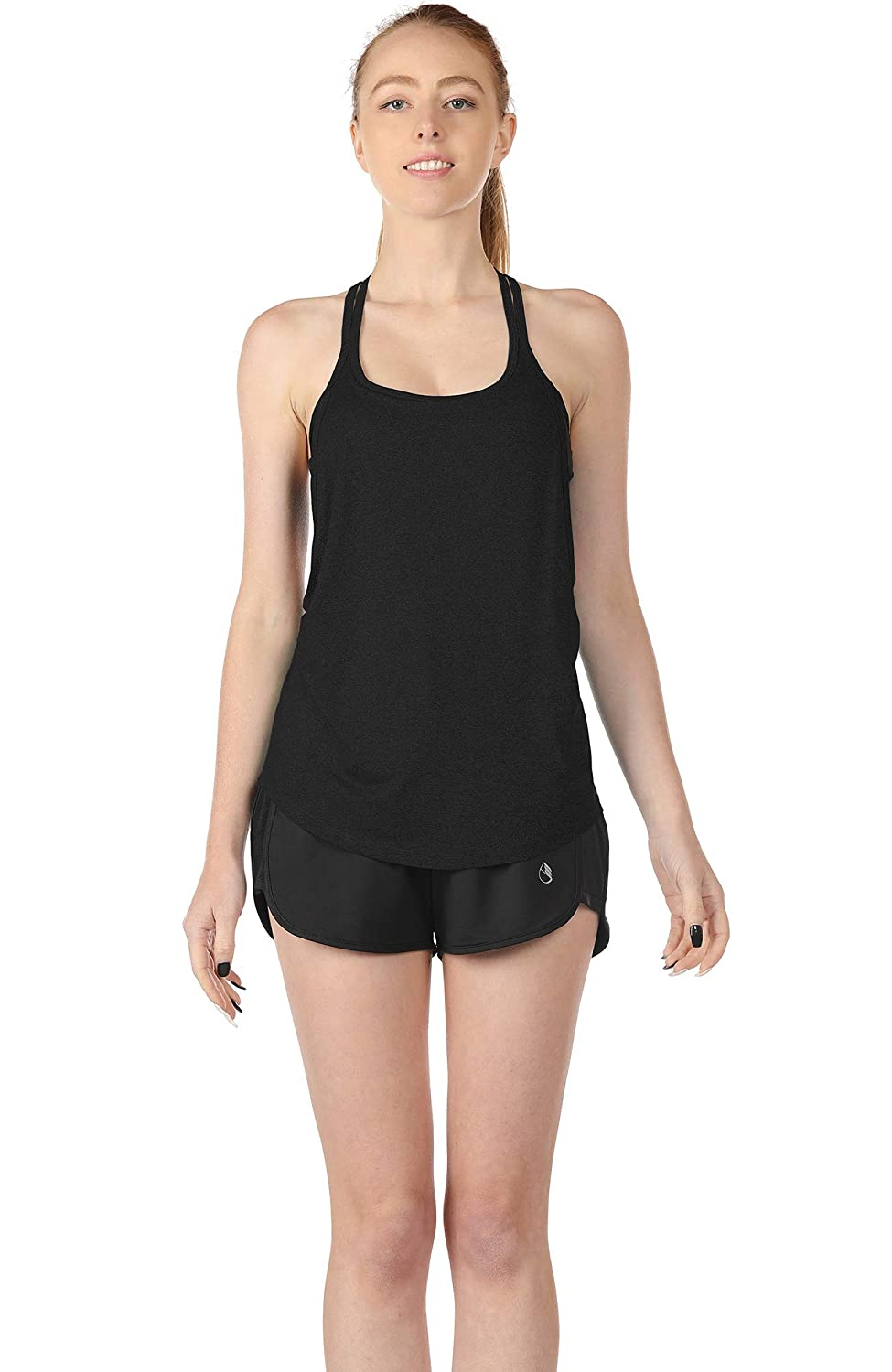 icyzone Workout Tank Tops with Built in Bra Womens Strappy Athletic Yoga Tops Running Exercise Gym Shirts