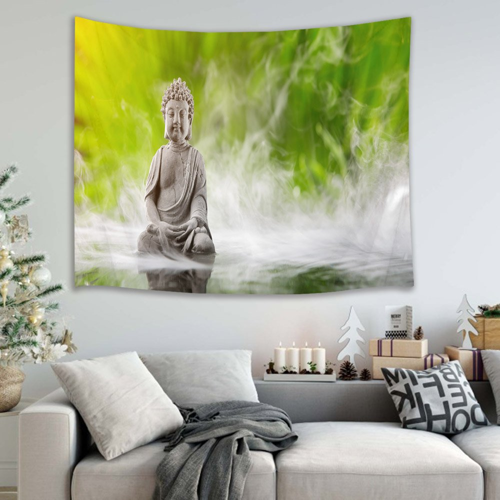 HVEST Buddha Tapestry Zen Tapestry Wall Hanging Buddha Meditating upon Spa Water Fog Wall Blanket Kids Bedroom Living Room Dorm Wall Decor,60 W x 40 H inches