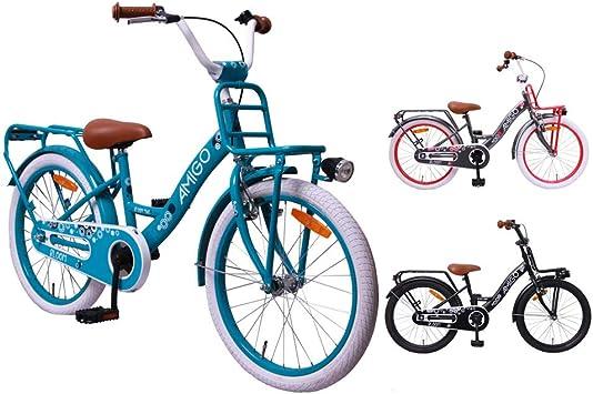 AMIGO Bloom - Bicicleta infantil - 20 pulgadas - Niñas - Con rejilla delantera y freno de montaña - Turquesa: Amazon.es: Deportes y aire libre