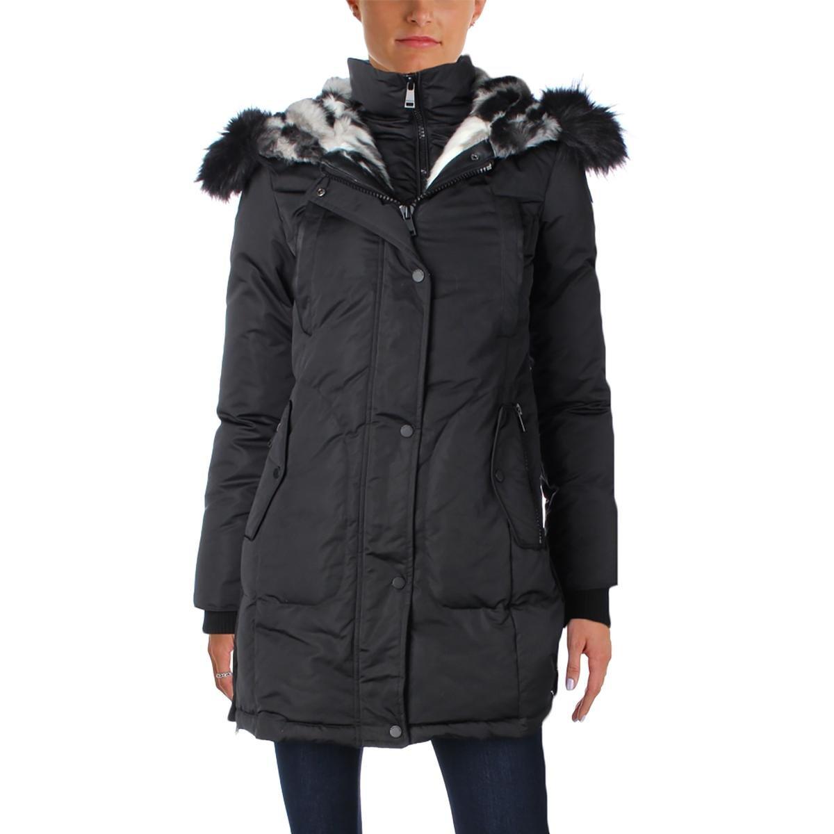 1 Madison Womens Long Sleeves Hooded Coat Black XL