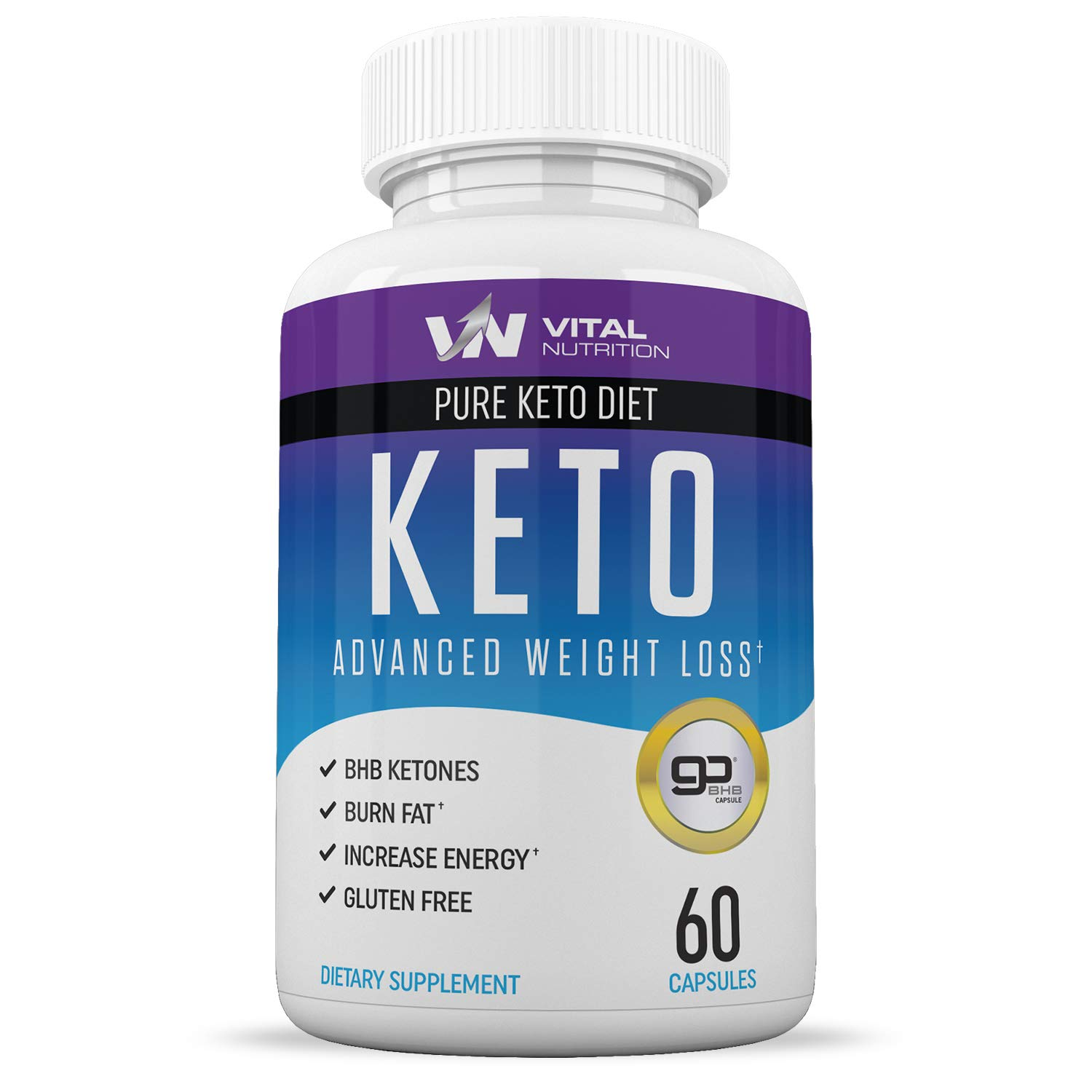 Pure Keto Diet Pills - Ketosis Supplement to Burn Fat Fast - Ketogenic Carb Blocker - Best Keto Diet Pills for Women and Men - Helps Boost Energy & Metabolism - 60 Capsules by VN Vital Nutrition