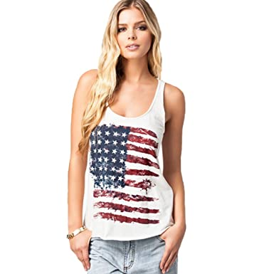 31d9687c3a6521 REINDEAR Fashion Women Patriotic American Flag Print Lace Camisole Tank Top  US Seller (XS