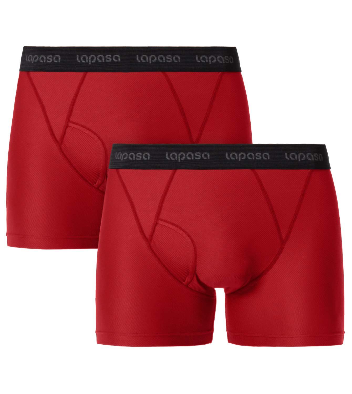 LAPASA Men's Performance Sports Underwear Sports Boxer Shorts Quick Dry & Odor Resistant Breathable Multi Pack Underpants Trunks M16, M47