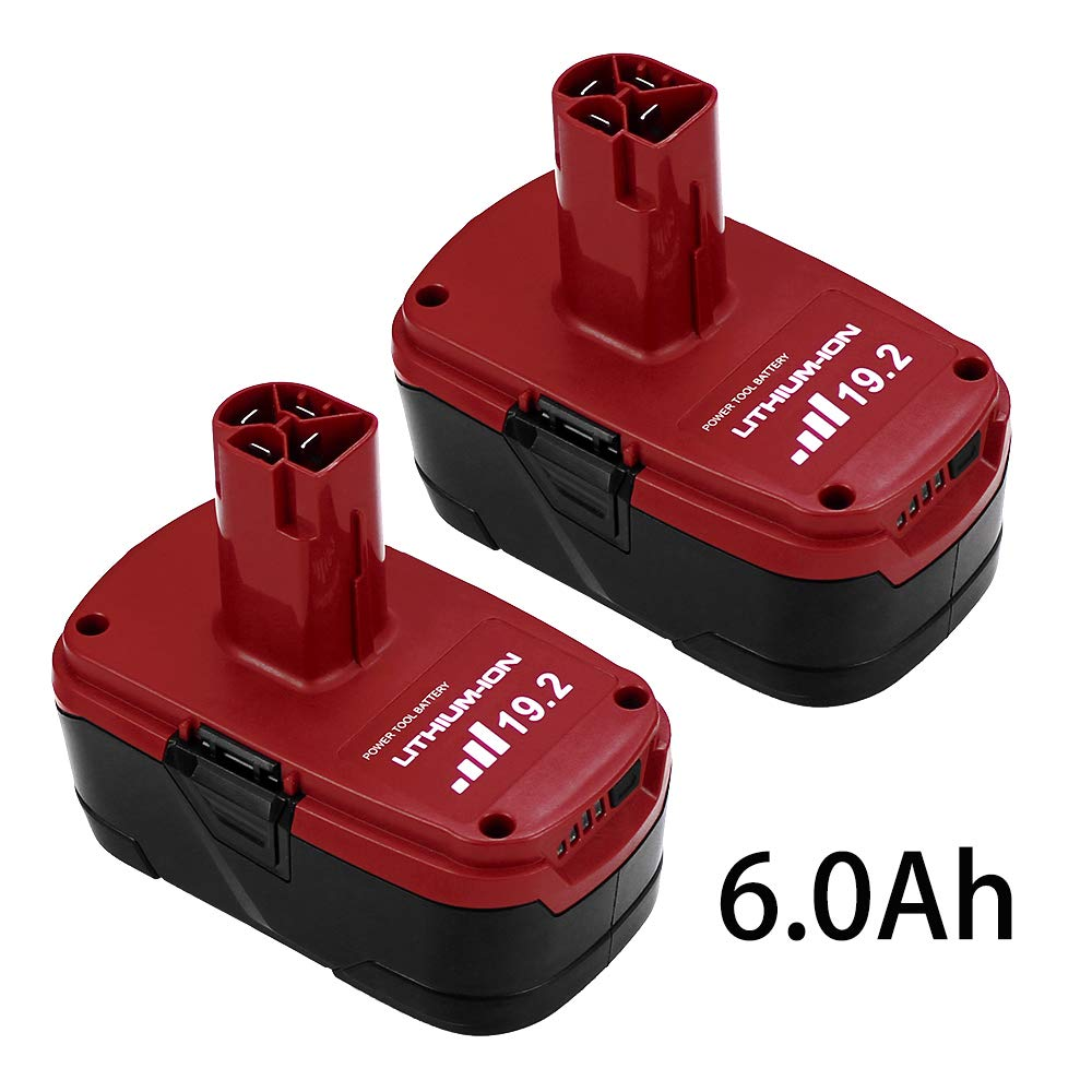 2 Packs 6.0Ah 19.2V C3 Replace for Craftsman 19.2 Volt Lithium-ion Battery XCP DieHard 315.115410 315.11485 130279005 1323903 120235021 11375 11376 Cordless Battery by OHYES BAT