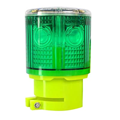 Aolyty Solar Strobe Warning Light 360 Degree Super Bright Waterproof IP48 for Construction Traffic Dock Marine Wireless Light Control Flashing (Green): Automotive