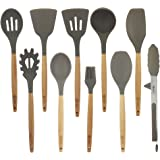 BGT 10 Pcs/Set Silicone Kitchen Utensils Set With Beech Wood Handle Cooking Utensils