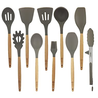 10 Pcs/Set Silicone Kitchen Utensils Set With Beech Wood Handle Cooking Utensils, BPA free