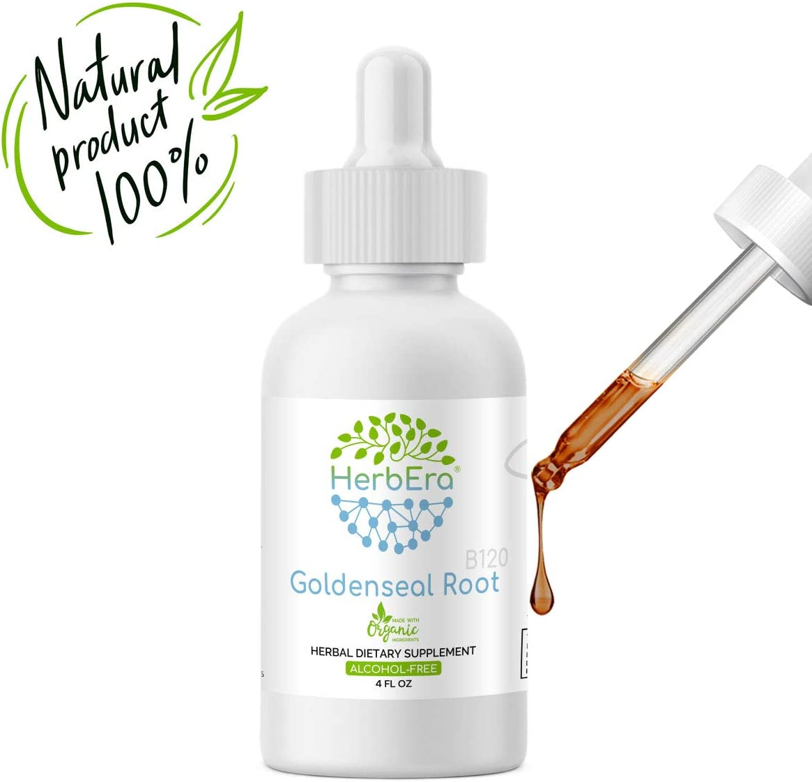 Goldenseal Root B120 Alcohol-Free Herbal Extract Tincture, Super-Concentrated Organic Goldenseal Hydrastis Canadensis 4 fl oz