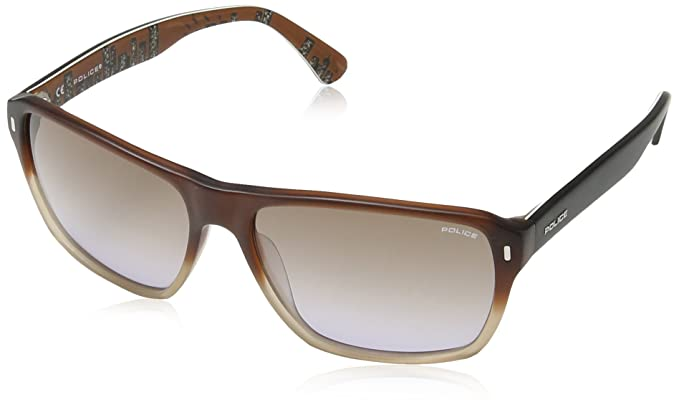 Police - Gafas de sol Rectangulares S1862 Skyline 3, SEMI MATT TRANSPARENT BROWN & LIGHT