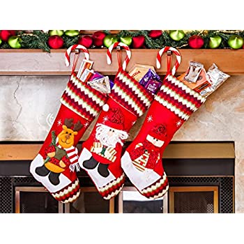 3 pcs set classic christmas stockings 18 cute santas toys stockings embroidered - Embroidered Stockings Christmas