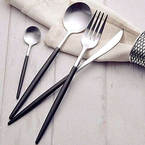 Lekoch 4 Piece Stainless Steel Flatware Set Including Fork Spoons Knife Tableware  Black Silver
