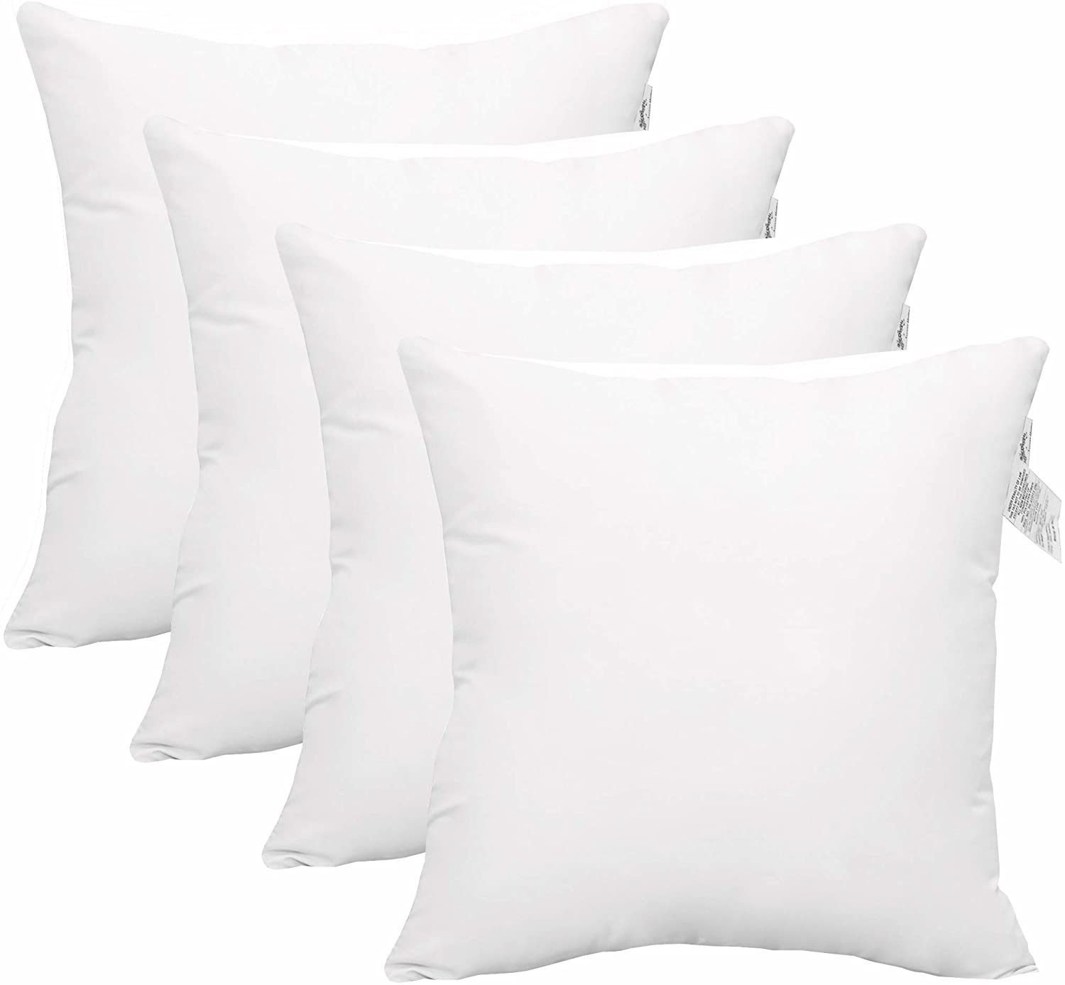 "Accent Home 4 Pc Pack Throw Pillow Inserts Hypoallergenic Square Form Sham Stuffer 18"" x 18"""