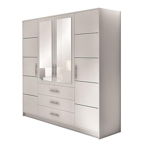Drehtürenschrank Bado 4D, Kleiderschrank mit Spiegel, Schubladen ...