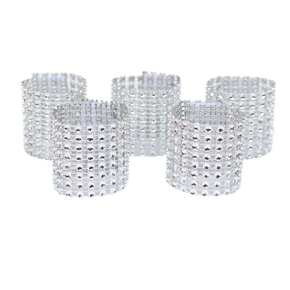 amajoy 50pcs servilleta anillos para servilleta anillos adorno para boda fiesta banquete cena Decor boda Favor plata