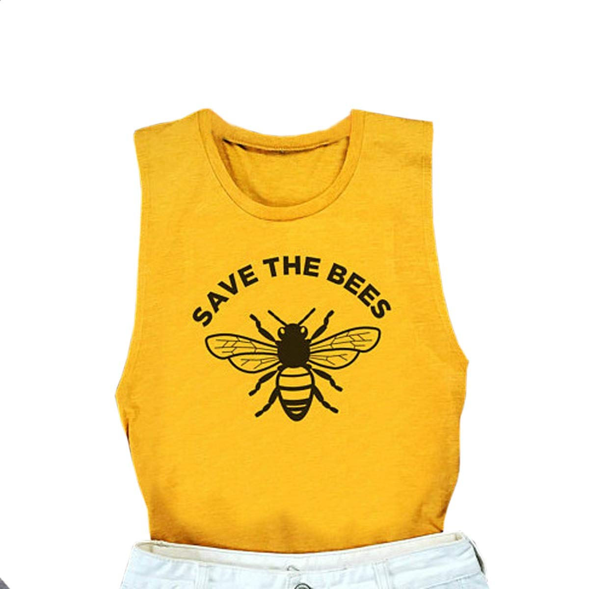 Jahurto Save The Bees Letters Print Crop Tank Top Women O-Neck Summer Vest Racerback (Color : Yellow, Size : S)