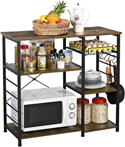 Yaheetech Industrial Kitchen Baker's Rack Utility Microwave Oven Stand with Wire Basket & 6 Hooks, Coffee Bar Spices Utensils Storage Shelf, Easy Assembly, Rustic Brown