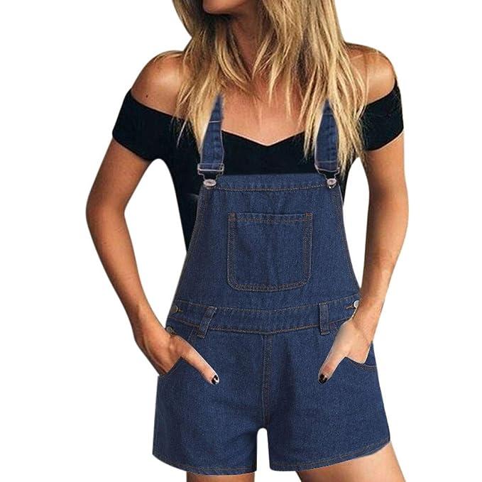 Modaworld Vaqueros Mujer cortos Pantalones cortos de mezclilla Mono Suelto Overoles jeans Petos Pantalones cortos de verano