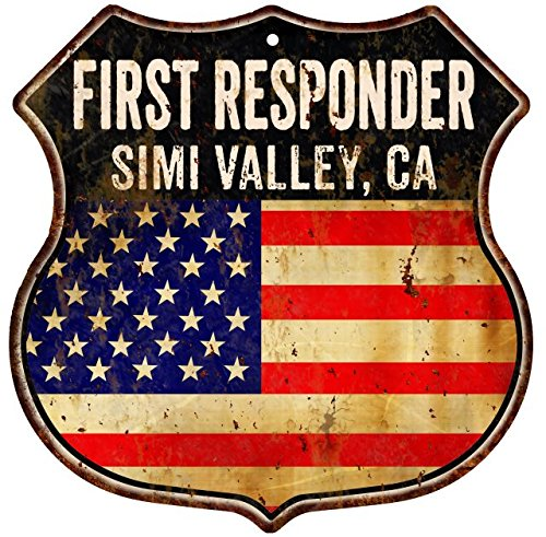 SIMI VALLEY, CA First Responder American Flag 12x12 Metal Shield Sign - Ca Simi