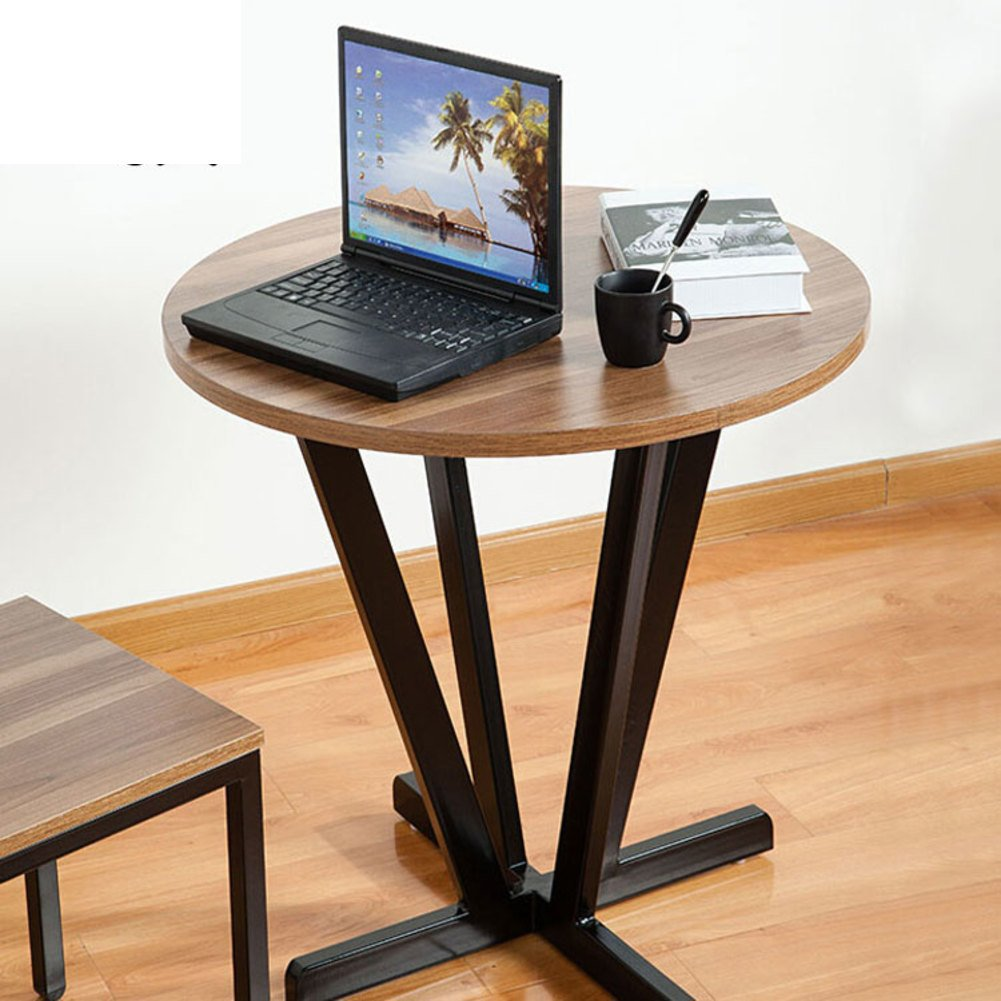 Solid wood tea table Modern minimalist living room edge Restaurant round Hotel telephone table Side computer table iron table-D