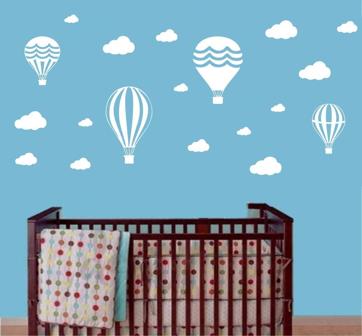 per cameretta dei Bambini YOYOYU ART HOME DECOR Adesivo da Parete per cameretta con Nuvole e Palloncino dAria Decorazione murale con Nuvole Bianche Bianco