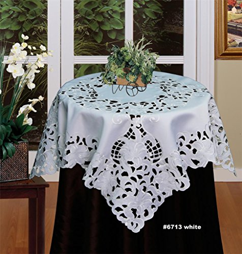 (Creative Linens Embroidered Floral Tablecloth 33